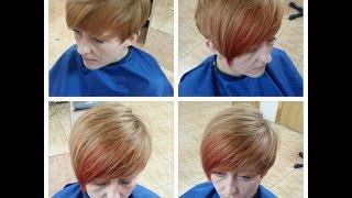 Короткая стрижка с удлиненной челкой Short haircut with side swept bangs