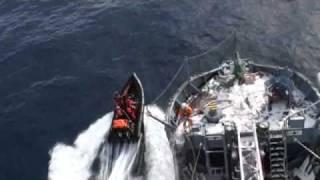 Bob Barker activists throw butyric acid-containing glass projectiles toward the Yushin Maru No. 3