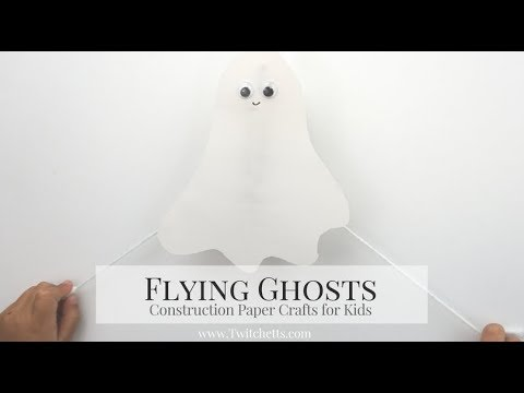 Flying Construction Paper Ghosts ~ Halloween Crafts for Kids