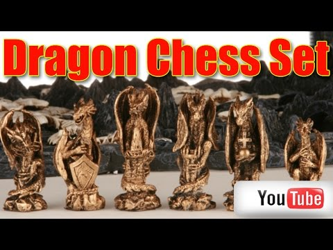 3D Dragon Chess Set with B`ful mystical creations chess pieces on board
