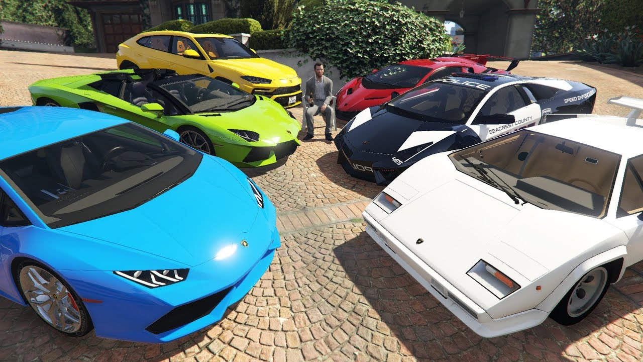 Lamborghini Cars Delivery to Michael\u0027s House in GTA 5! (Real Life Cars)