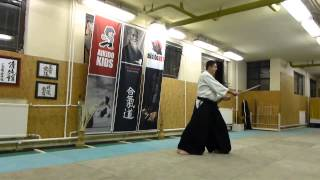 fumikomi tsuki zengo tatte / boken /sword [TUTORIAL] basic Aikido weapon technique 合気剣 合気剣