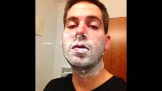 Shaving the man beard to be a Christkind