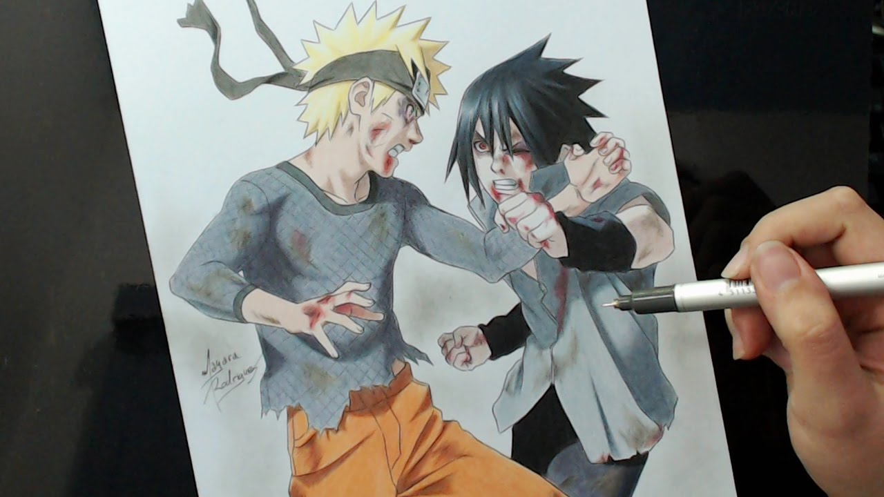 speed drawing naruto x sasuke final battle youtube