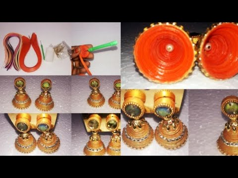 How To Make Paper Quilling jhumkas || Quilling Paper Earrings