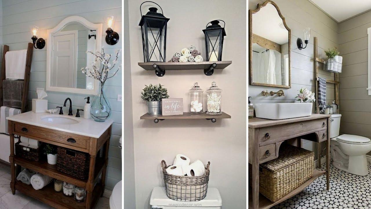 DIY Rustic Shabby chic style Bathroom decor Ideas | Rustic ...