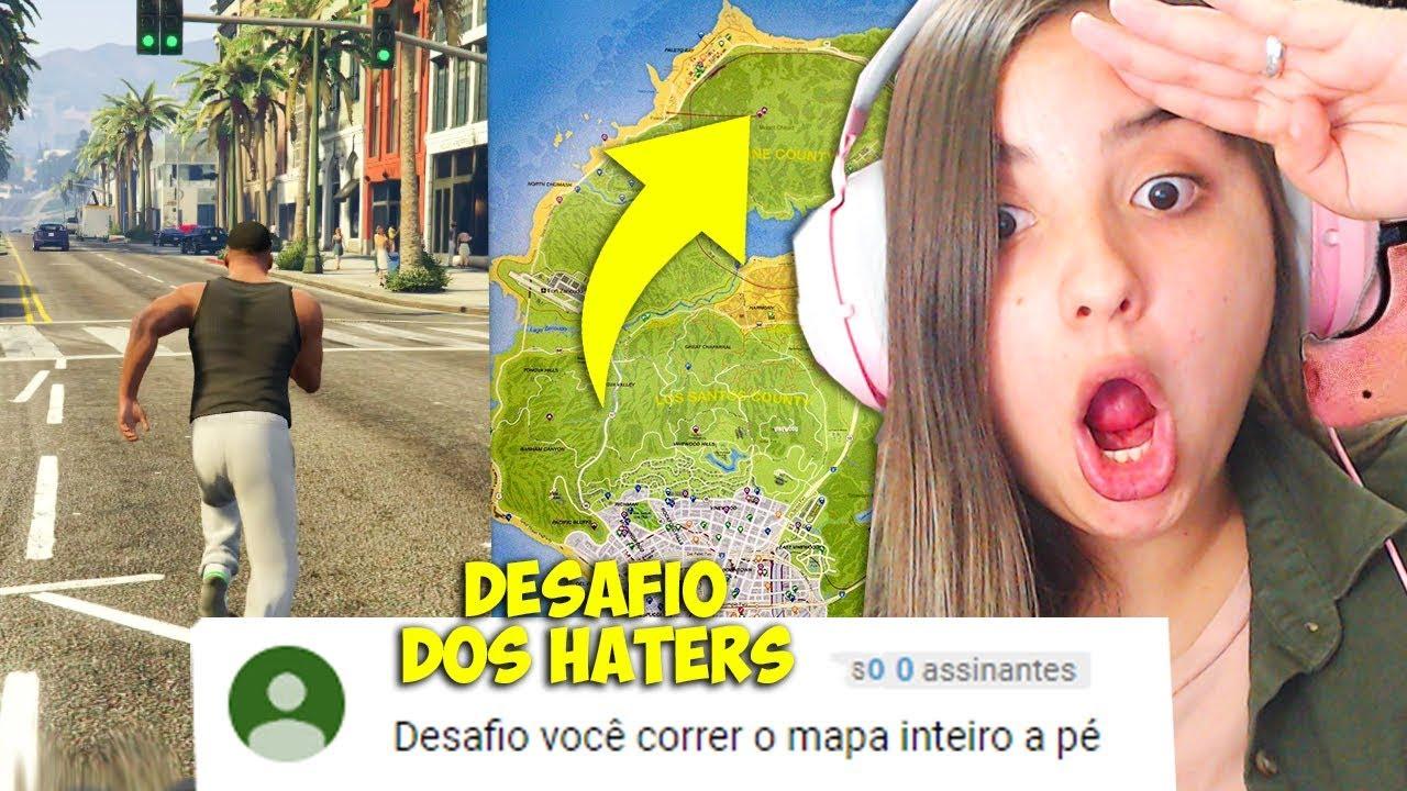 DESAFIO dos HATERS no GTA 5!! ATRAVESSEI o MAPA INTEIRO DO GTA V CORRENDO