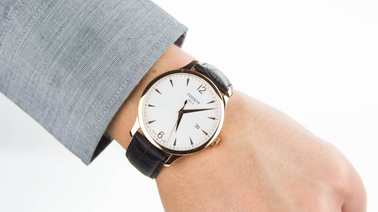 tissot traditional rose gold tone steel watch t0636103603700