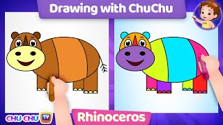 How to Draw a Cute Rhinoceros Step by Step? Drawing with ChuChu - ChuChuTV Drawing Lessons for Kids
