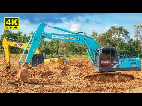 Excavator 2017 | รถแม็คโคร Kobelco SK200 รถแม็คโคร CAT 320D ตักดินคู่กัน 4K【CHANAWAN】