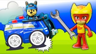 PJ Masks and Paw Patrol have Pretend Play Mechanic Mickey to Fix Broken Paw Patrol Cars