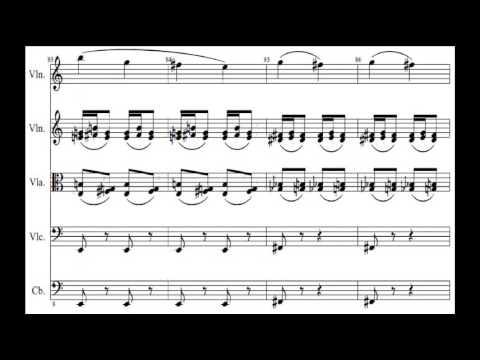 Prelude music score - Psycho theme music in C major