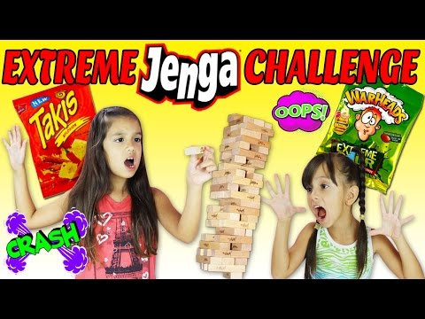 EXTREME JENGA CHALLENGE - Super Hot Takis and Extreme Sour Warheads Challenge - TwoSistersToyStyle