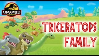 a spinosaurus and t rex attack a triceratops family dinosaur and friends