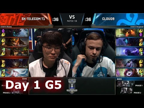 SK Telecom T1 vs Cloud 9 | Day 1 Main Group Stage S7 LoL Worlds 2017 | SKT vs C9 G1