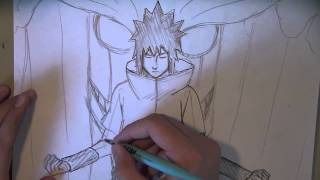 How to Draw Sasuke Uchiha with Susanoo (part 1) draw+ink