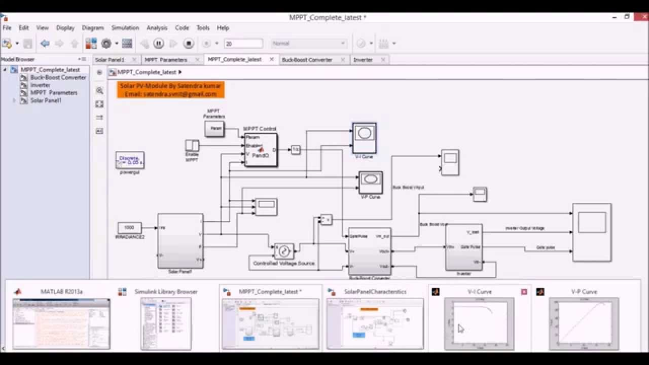 Simulation Of Solar Pv Model In Matlab Simulink Having Mppt And Buck Boost Converter Youtube