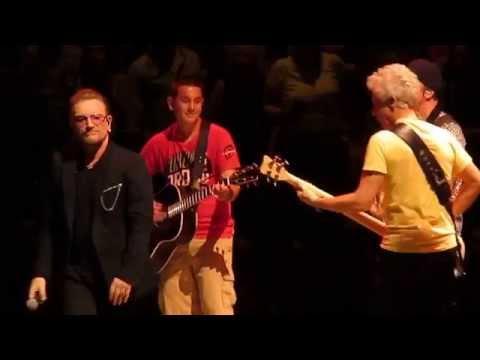 U2 - Angel of Harlem (Bono gives kid guitar) - Boston Garden, Boston, MA - July 11, 2015
