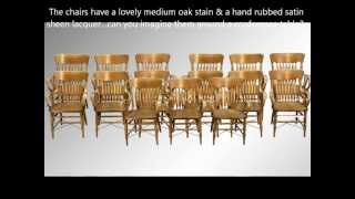 15893 Rare Set Of 15 Victorian Oak Matching Arm Chairs