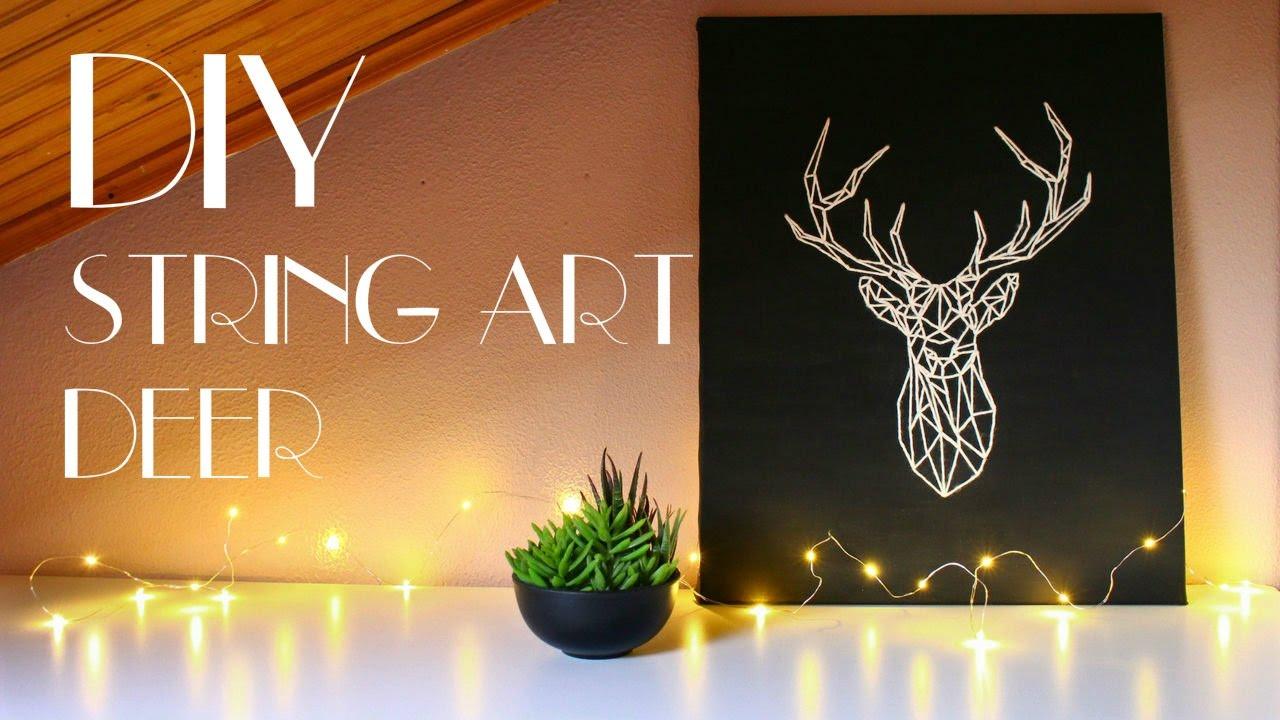 DIY   String Art Deer [Wall Art]   YouTube