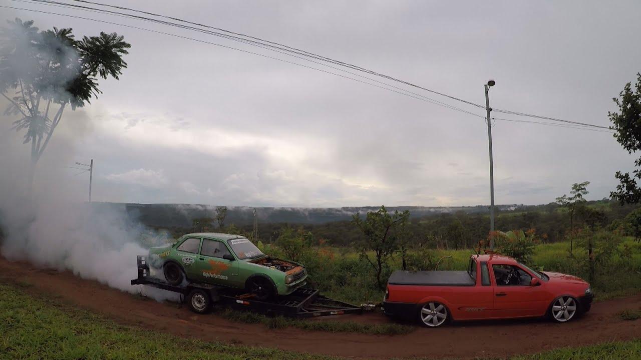 BURNOUT EM CIMA DA CARRETINHA !!!! Chevette aspirado