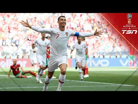 RONALDO GOAL BREAKS A RECORD! Gives Portugal 1-0 lead over Morocco with header