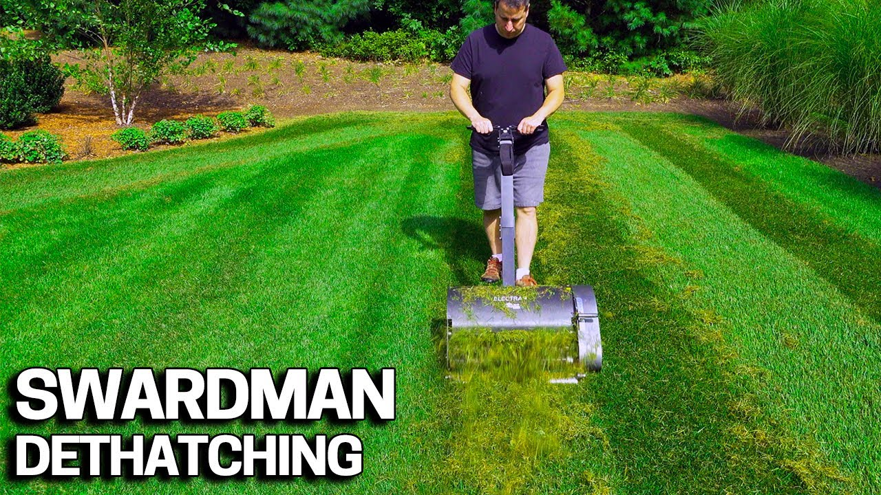 Swardman Electra Lawn Dethatching & How to Swap Implements on this Reel  Mower