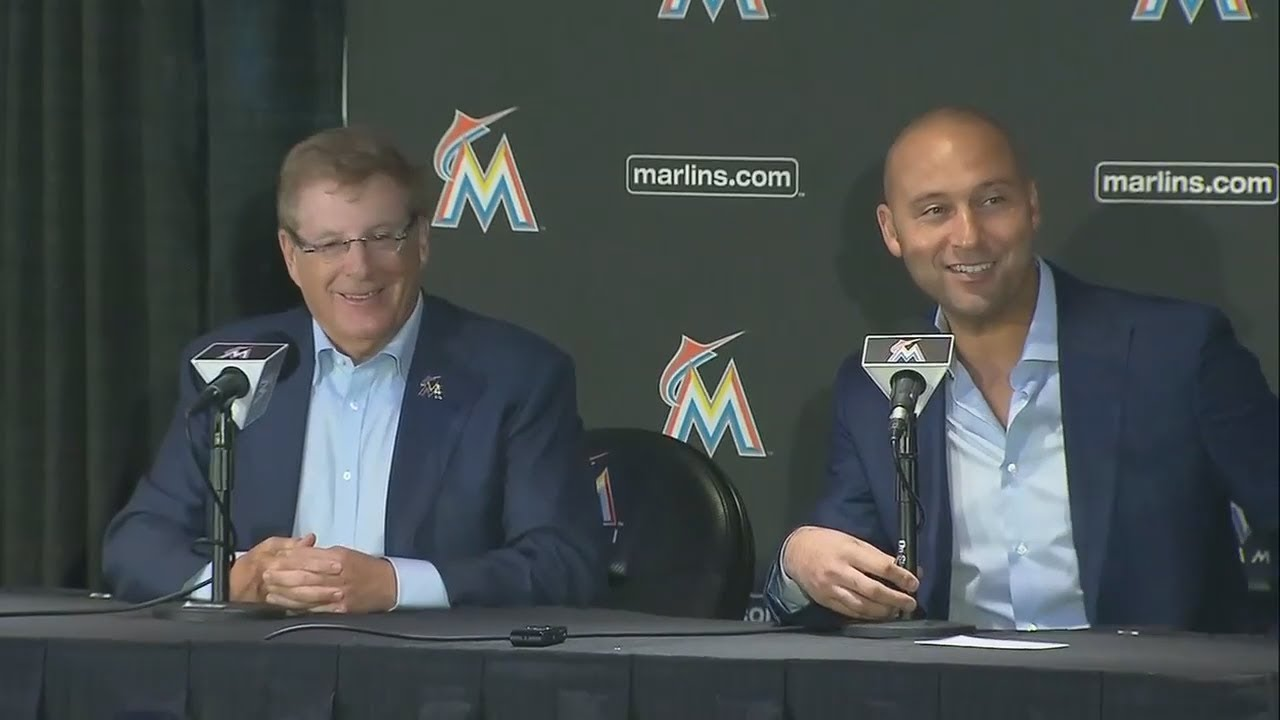 Full Derek Jeter And Bruce Sherman Miami Marlins Introductory News Conference Espn Youtube
