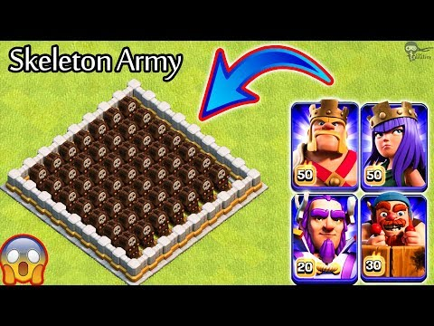 Skeleton Army vs Heroes and Troops Clash of Clans | All Heroes vs Skeleton Traps