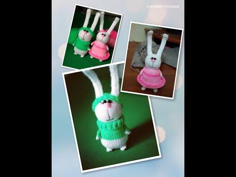 Вяжем зайцев амигуруми. Подробный МК. Knitted Bunny