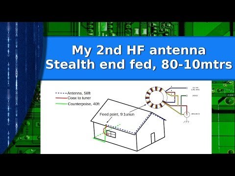 Ham Radio - My second HF antenna.   A stealth end fed wire for 80 - 10 meters