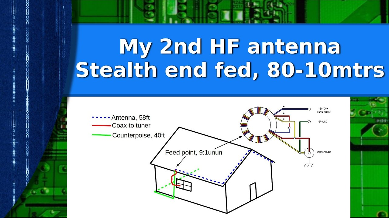ham radio my second hf antenna a stealth end fed wire for 80 10 meters [ 1280 x 720 Pixel ]