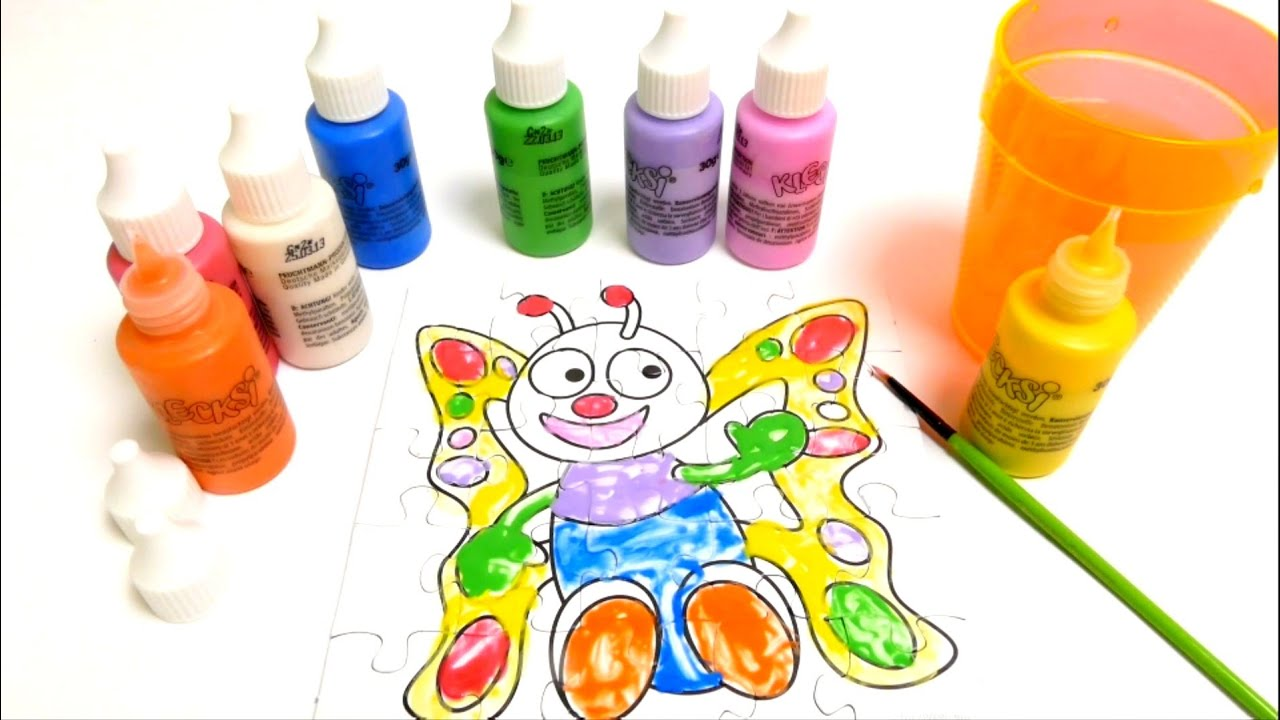 finger painting colors coloring a butterfly puzzle painting school for kids - Paint Coloring