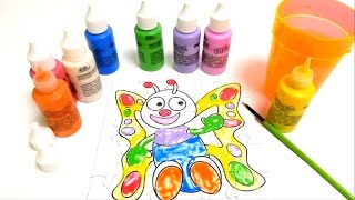 Finger Painting Colors - Coloring a Butterfly Puzzle - Painting School for Kids