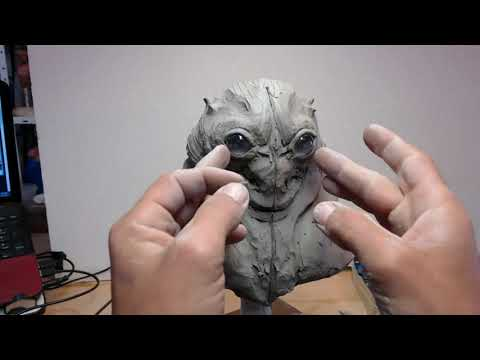 Sculpture timelapse. (creature bust)