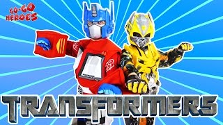 BUMBLEBEE vs OPTIMUS PRIME dance off How to dance Superheroes in real life Video for kids
