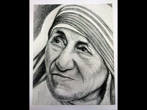 How to draw mother teresa face drawing step by step