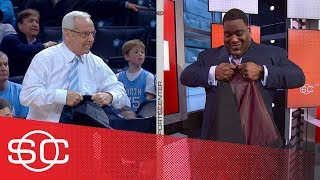 Damien Woody shows North Carolina coach Roy Williams how to rip a jacket   SportsCenter   ESPN