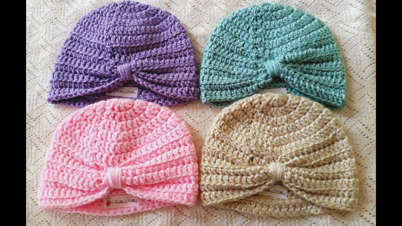 Free Crochet Pattern Baby Turban : Baby Turban Crochet Tutorial - YouTube