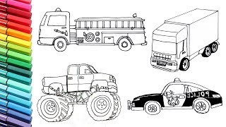Vehicles Collection Drawing and Coloring for Kids Police Car Fire Truck Tractor Color Pages