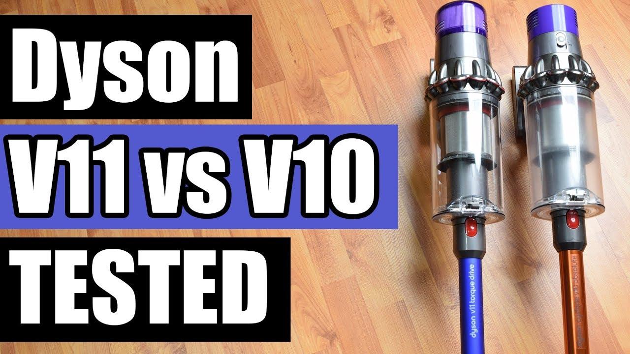 dyson v11 vs v10 cordless vacuum tests review comparison youtube. Black Bedroom Furniture Sets. Home Design Ideas