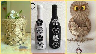 Handmade Jute Rope Baskets Ideas    Jute Braided Rope Bottles    Quilling Jute Craft Ideas