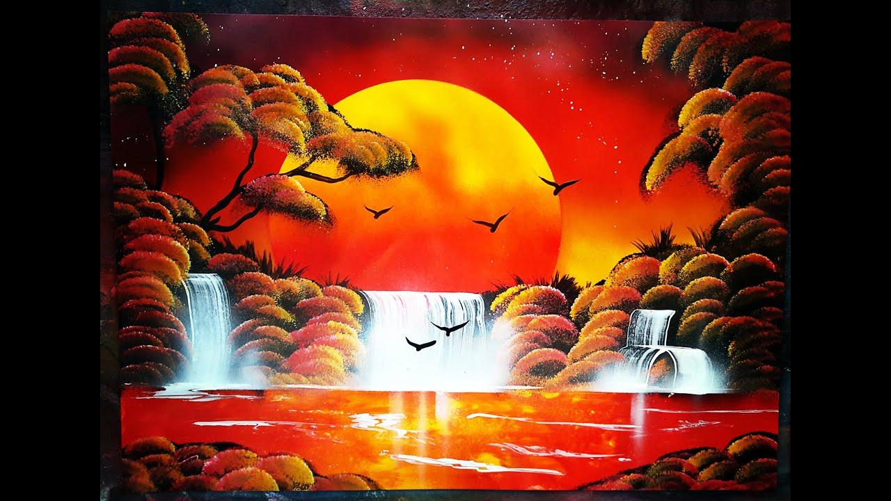 spray art tutorial sunset forest lake 2016 ita youtube