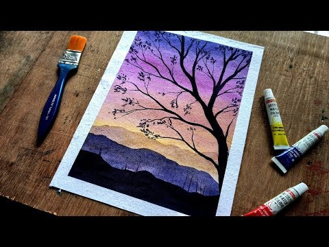 How To Paint Mountain Tree Landscape Watercolor | watercolor painting for beginners