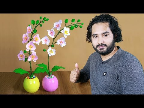 Orchid flower making with Foam Paper // Handmade orchid flower tree