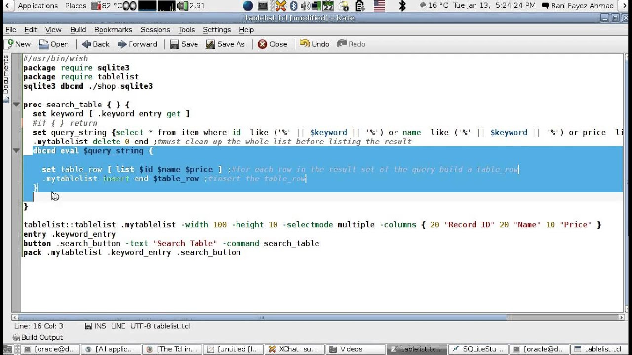 A Jumpstart Tutorial in using the Tcl/Tk Tablelist Widget With Sqlite3  (English Version)