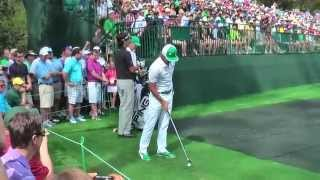 Bubba Watson and Rickie Fowler practising on the 16th at the Masters 2013.