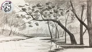 How to draw a very easy landscape with pencil for beginners