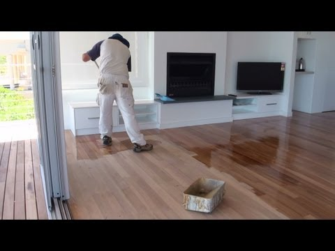 How To Paint A Wood Floor - Paint or apply clear polyurethane or varnish to wood floor boards.