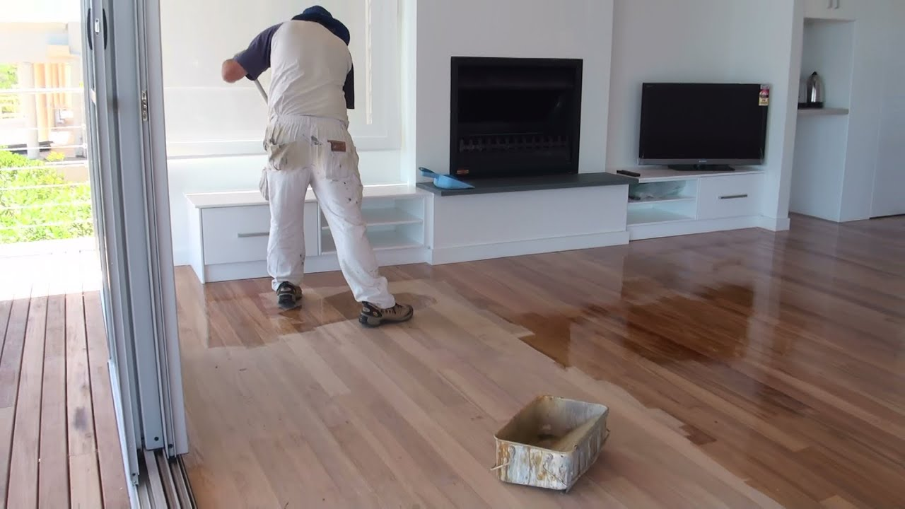 How To Paint A Wood Floor - Paint or apply clear polyurethane or varnish to wood  floor boards. - YouTube
